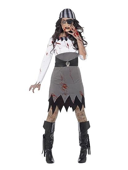 Smiffys Disfraz de Pirata Zombi, Gris, con Vestido, pañuelo para el Cuello y Parche
