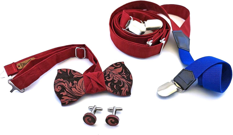 Papillon Legno Wenge Bretelle stoffa rossa Elastico blu Made in Italy GIGETTO Gemelli