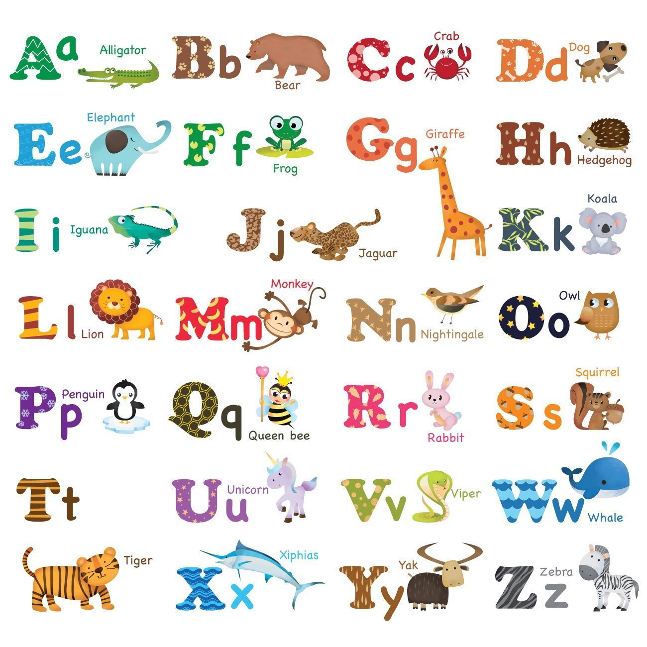 Decowall DW 1308 Alphabet ABC And Animals Kids Wall Stickers Wall Decals  Peel And Stick Part 94