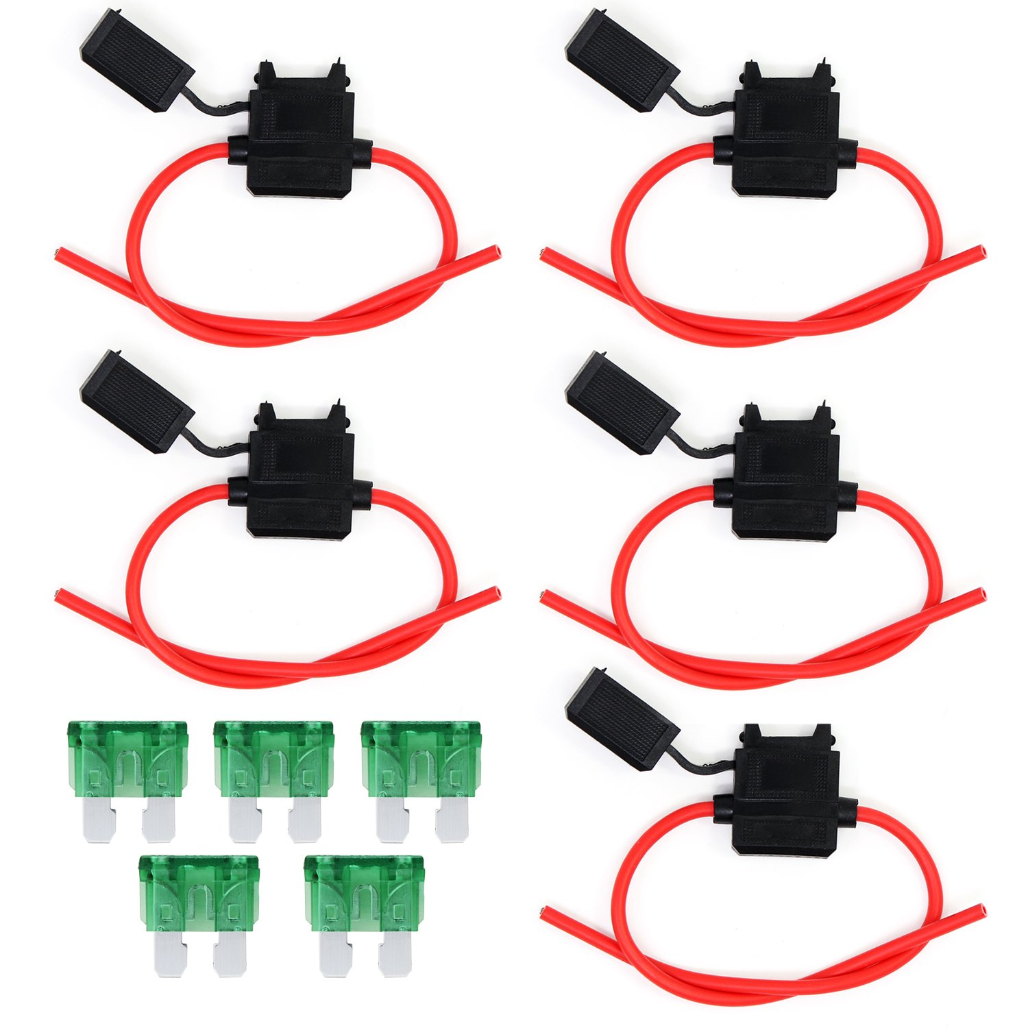 OcrFuse Holder 12Guage Waterproof Automotive Blade Fuse Holder with 30AMP Fuse 10PCS (12Guage)