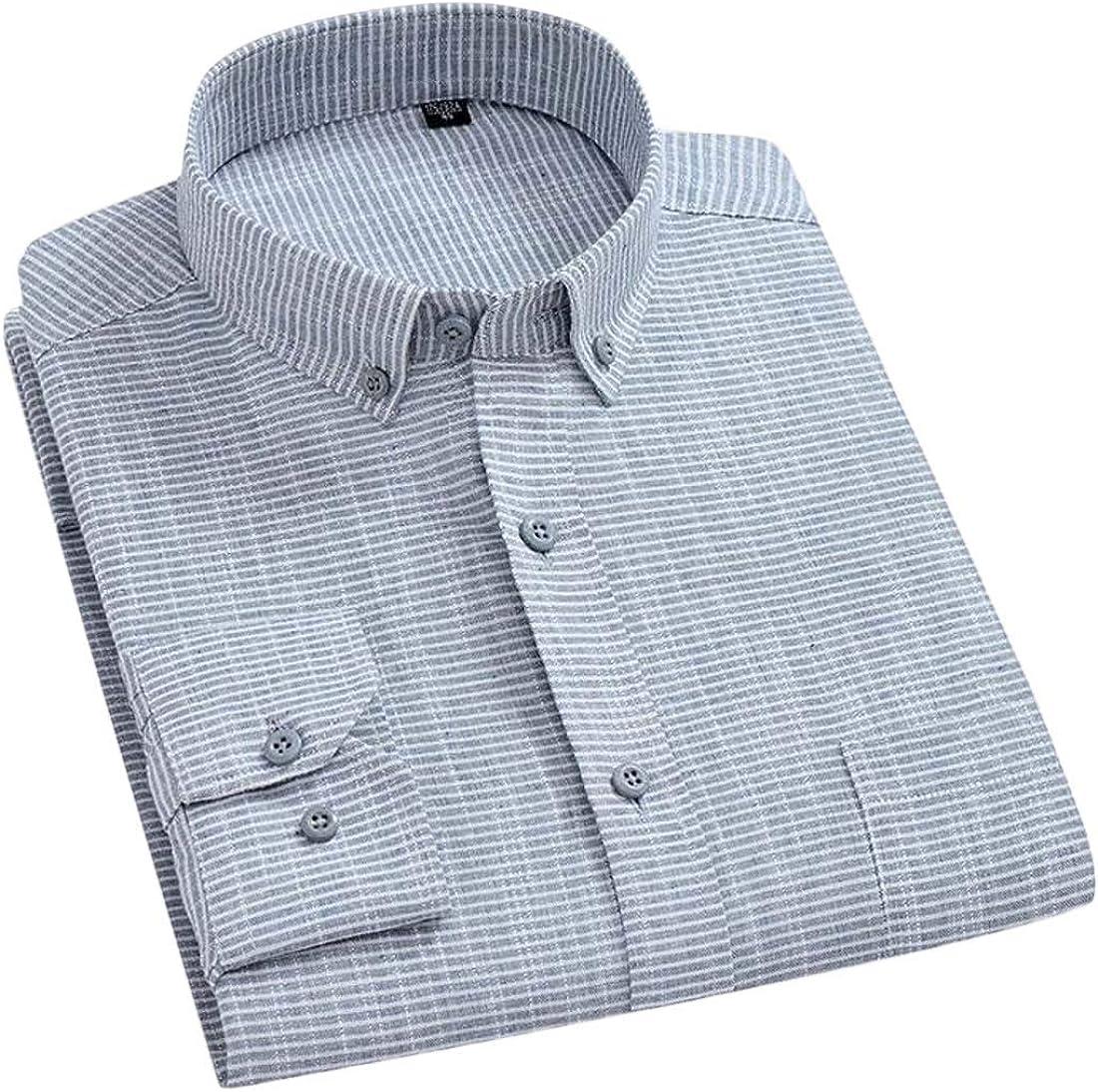 Hajotrawa Mens Casual Plaid Striped Long-Sleeve Regular Fit Shirt
