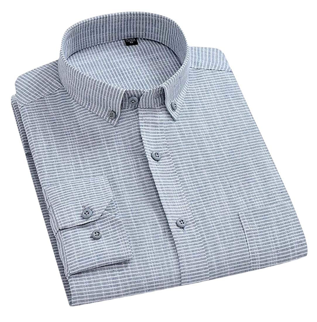 C/&H Mens Stripe Button Down Long-Sleeve Plaid Cotton Linen Shirts