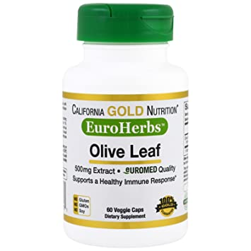 California Gold Nutrition Olive Leaf Extract EuroHerbs 500 mg 60 Veggie  Caps, Milk-Free,