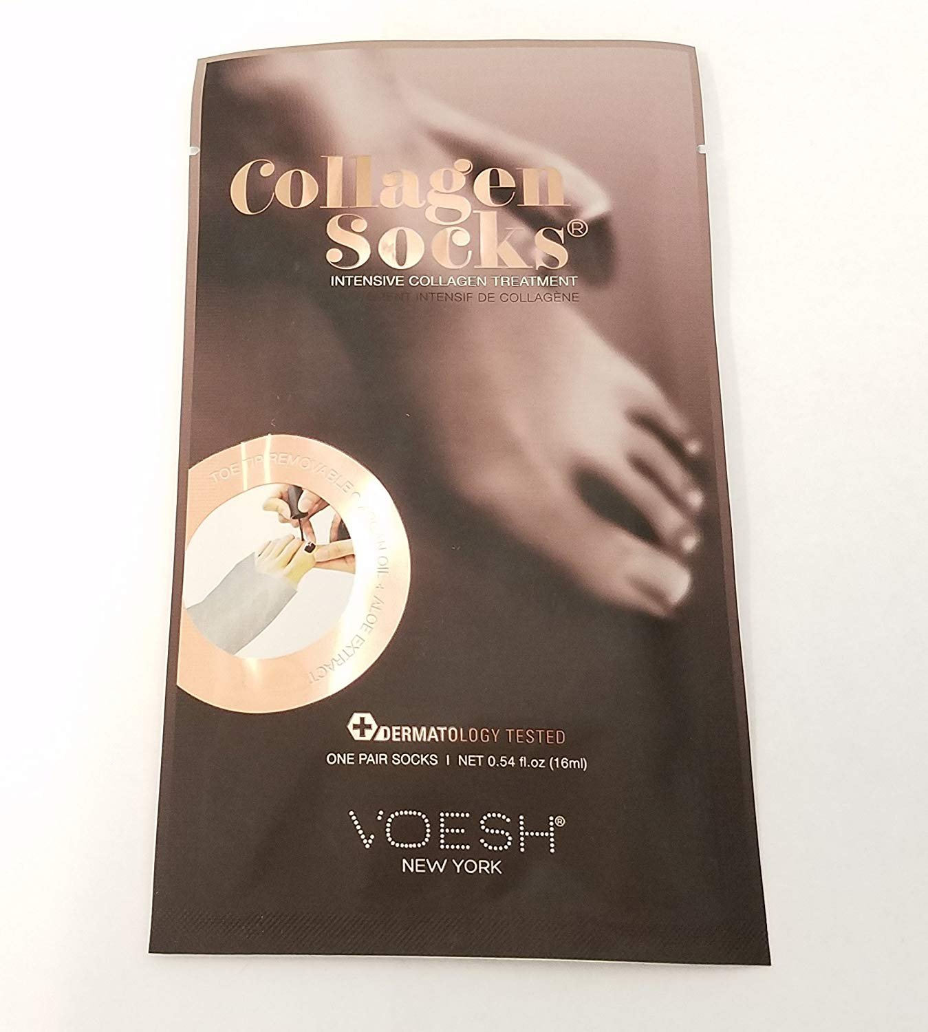 VOESH New York - UV Protective Deep Moisturizing Collagen & Vitamin E Foot Mask Socks (Pre-cut Toes for Easy Pedicure) - 6 Pair