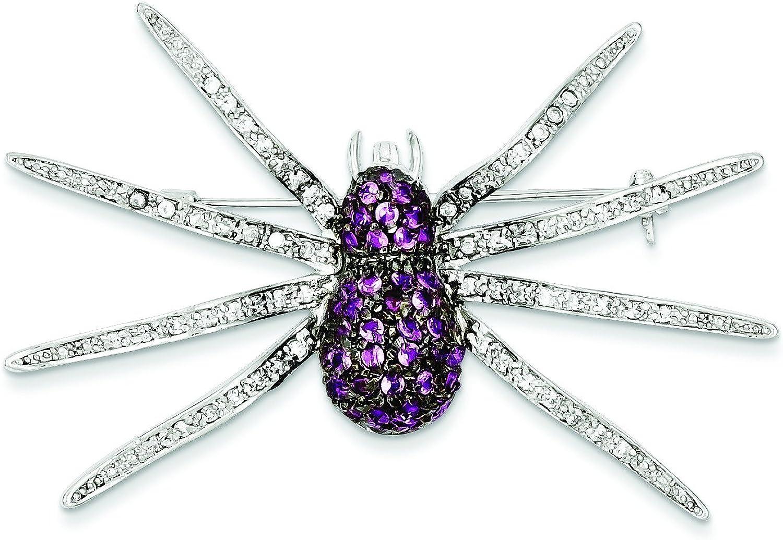 Sterling Silver Black Rhodium Pink Cz Spider Pin