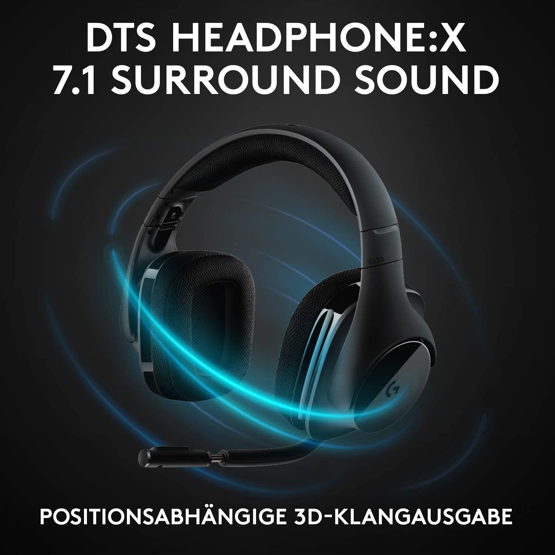 Amazon Prime - Logitech G533 Gaming-Headset (7.1 Surround, DTS Headphone:X, 40mm, 2.4 GHz, ANC Mikrofon, 15h Akku) für 74,99€