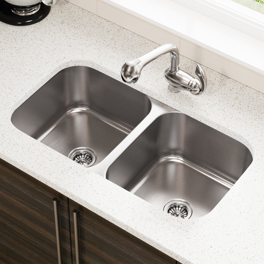 3218A 18 Gauge Undermount Equal Double Bowl Stainless Steel Kitchen Sink   Stainless  Steel Undermount Kitchen Sink   Amazon.com