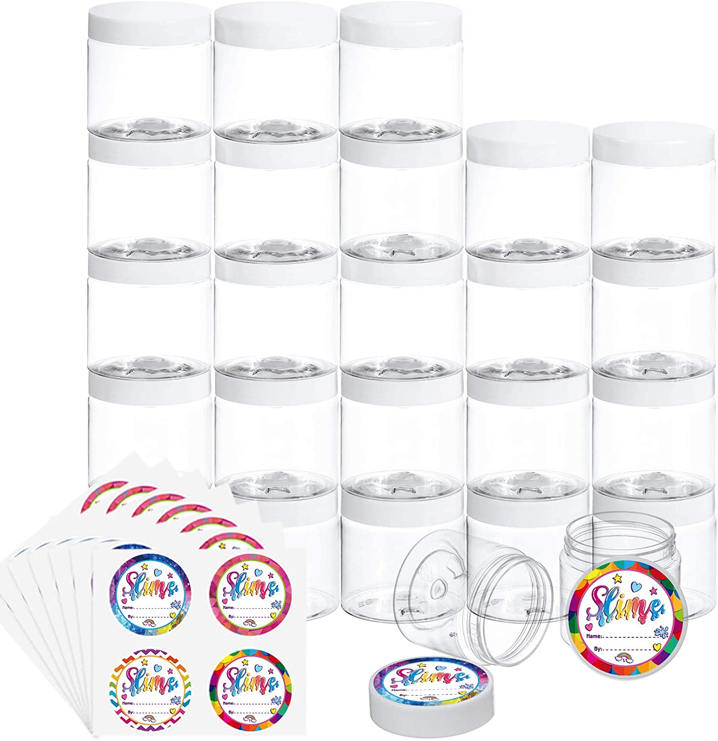 Habbi 25 Pack 2OZ Empty Slime Containers Slime Jars Plastic Containers with White Water-Tight Lids and Exquisite Stickers for DIY Slime Making, Beauty Products, Food or Others