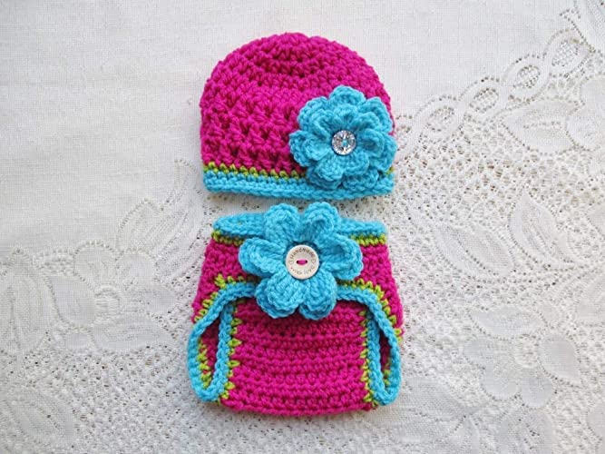 Amazon.com  Baby Crochet Hat and Diaper Cover Set - Photo Prop - Available  in 0 to 24 Months  Handmade 8c2bd9cf2ad2