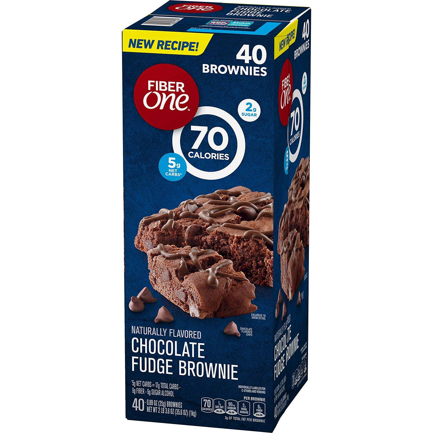 Fiber One Brownies Chocolate Fudge, 70 Calories (40 Count) by Fiber One
