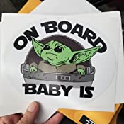 Inc. by O.S.C 6.75 x 5.5 Print Cut Lam Baby Yoda Baby on Board Decal