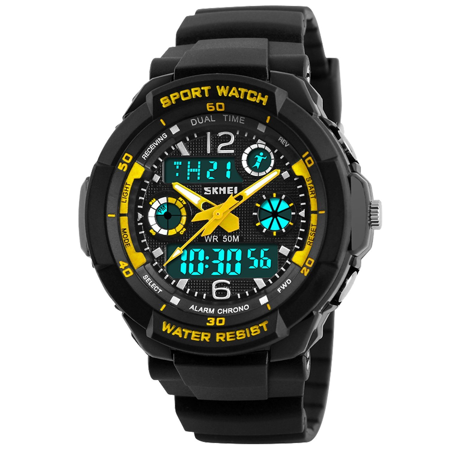 Boys Watch, Kids Teens Boys Waterproof Sports Digital Analog Watches Timepiece with Soft Rubber Band Yellow by AMCAS