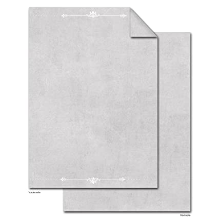 100 hojas DIN A4 Papel de carta gris blanco ornamentos; 100 g ...
