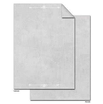 50 hojas de papel DIN A4 Carta gris blanco ornamentos; 100 g ...
