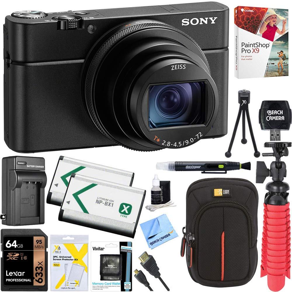 Sony DSC-RX100M6 RX100 VI Cyber-Shot Digital Camera 20.1 MP with 24-200mm Zoom Lens   Lexar 64GB SDHC/SDXC UHS-I Card   Dual Battery Kit   Accessory Bundle