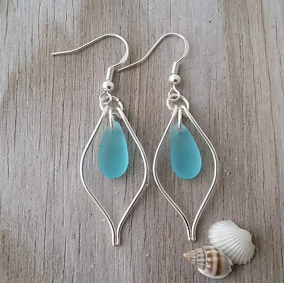 Handmade in Hawaii, wire loop turquoise bay blue sea glass earrings, (Hawaii Gift Wrapped, Customizable Gift Message)