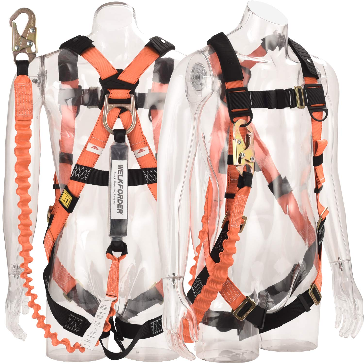 WELKFORDER 1D-Ring Industrial Fall Protection Safety Harness with 6-Foot Shock Absorber Stretchable Lanyard [Snap Hook End]   Permanent attached Kit   ANSI Complaint Personal Fall Arrest System(PFAS)