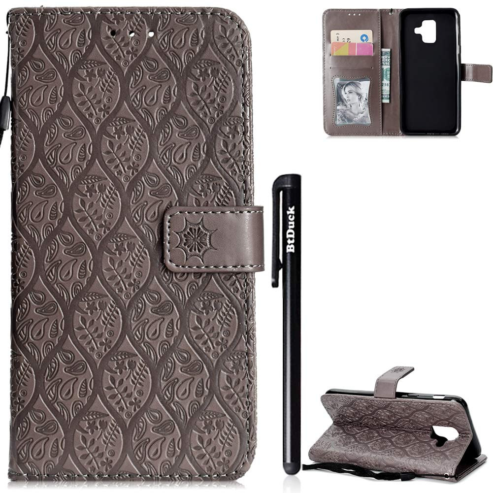Cover for Galaxy A6 2018,Samsung A6 2018 Case,BtDuck Leather Wallet Case Clear View Shockproof Cover Flip Stand Phone Protector Magnetic Closure Case Kickstand Function Cover Anti-slip Slim Fit Phone Case Pattern Flower Cover with Wrist Strap Shell with C