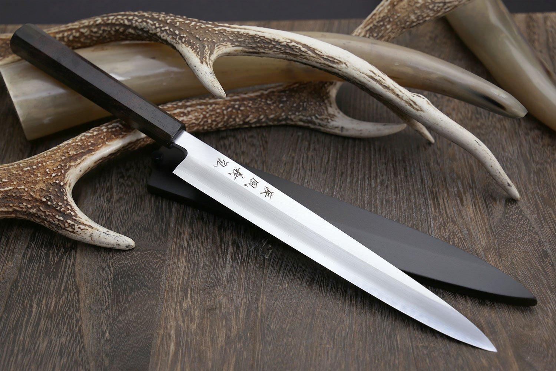 Yoshihiro Inox Stainless Steel Yanagi Sushi Sashimi Japanese Chef Knife Rosewood Handle with Nuri Saya Cover(10.5 IN)