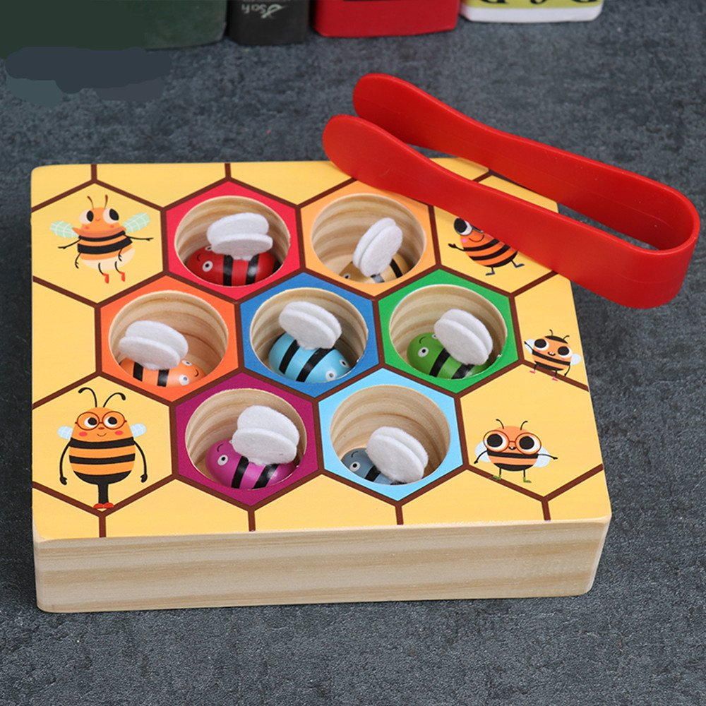 Moonio Wooden Lovely Bee Picking Toy Catching Practices for Baby Early Educational Toddler Montessori Game Colorful Beehive Box by Moonio (Image #2)