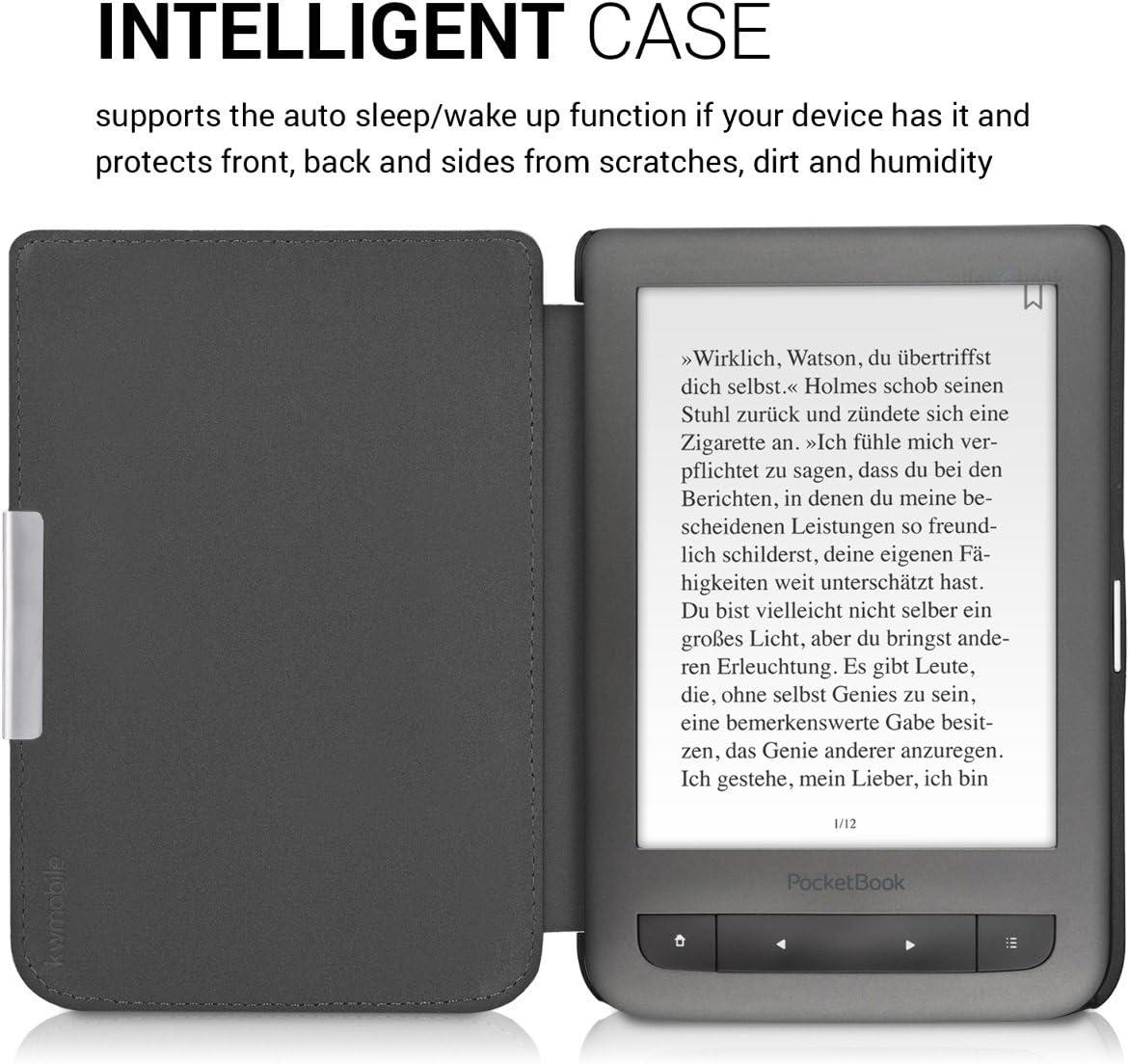 kwmobile Funda para Pocketbook Touch Lux 3//Basic Lux//Basic Touch 2 Case con dise/ño de Elefante art/ístico Carcasa para e-Reader de Cuero sint/ético