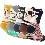 5 Pairs Cartoon Socks Novelty Welt Casual Cotton Animal Crew Socks for Women