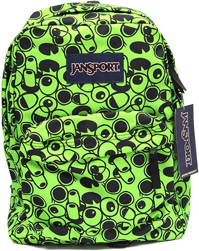 Classic Jansport Superbreak Backpack Zap Green Double Vision T50106B