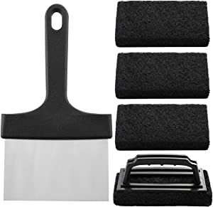ROMANTICIST 5-Piece Premium Griddle Cleaning Kit, Handy Stainless Steel Food Scraper Combined with 4 Abrasive Anti-Grease Scouring Pads, Best Cleaning Tool Set for Commercial and Household Uses
