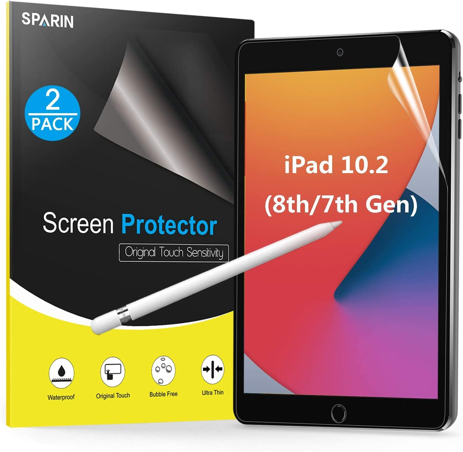 [2-Pack] Paperfeel Screen Protector for iPad 8th Generation 2020 / iPad 7th Generation 2019 Released (10.2 Inch), SPARIN Matte Screen Protector Like Paper Texture Compatible with Apple Pencil, No Glare