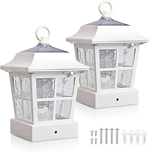 KMC LIGHTING Post Solar lights Solar Deck Lights Solar Post Cap Lights Solar Fence Lights 15 LUMENS KT130QFX2W fit for 3.7X3.7 regular Fence Posts or with included adaptor fit for bigger flat surface