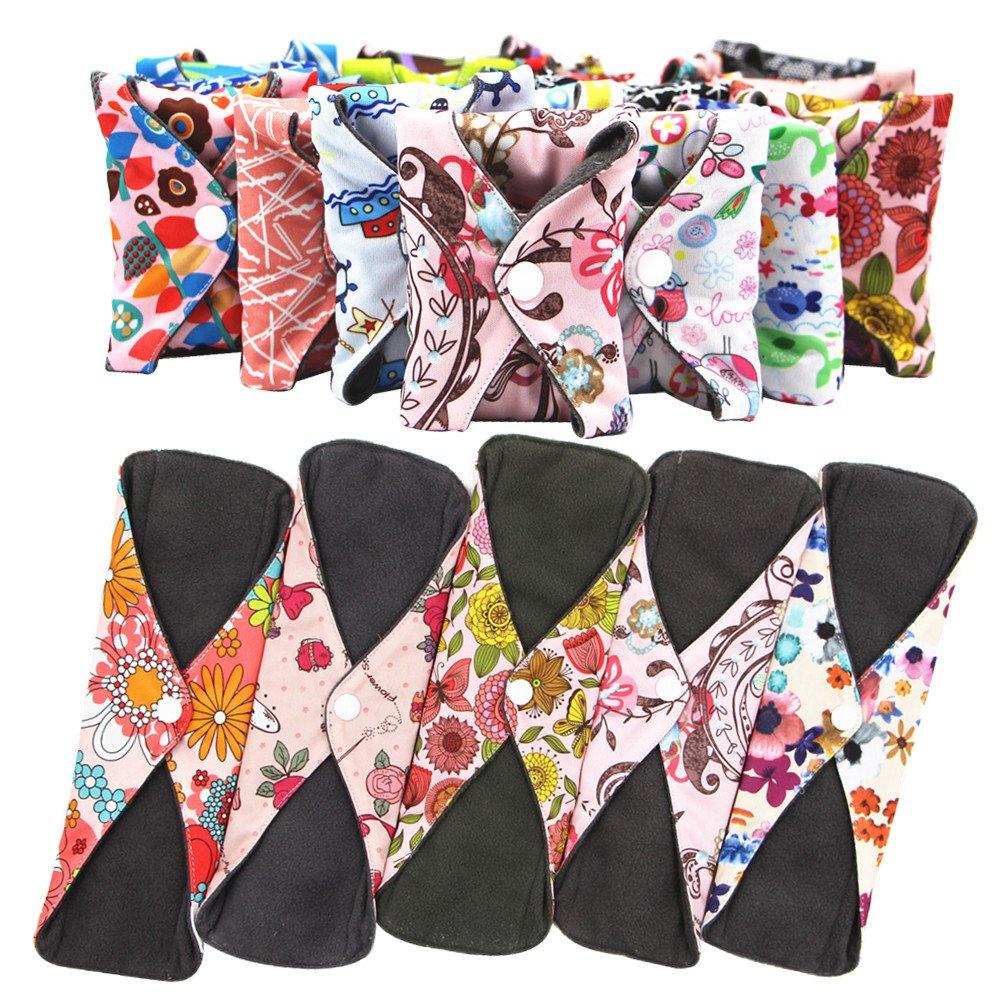 38e16329b3af Amazon.com  Asenappy Reusable Cloth Menstrual Pads Sanitary Pads 5 PCS+1 Bag  (Medium