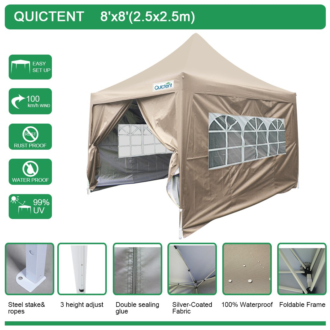 Quictent Silvox Waterproof 8x8' EZ Pop Up Canopy Gazebo Party Tent Portable Pyramid-roofed Waterproof-7 colors(Beige) by Quictent (Image #5)