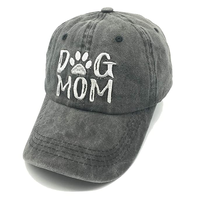 Waldeal Embroidered Dog Mom Paw Vintage Washed Distressed Dad Hats Funny  Black ed1596a06eb1