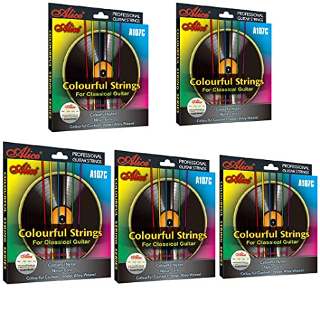 5 Packs Full Set Replacement A107C Colorful Nylon Colorful Coated Copper Classical Guitar Strings