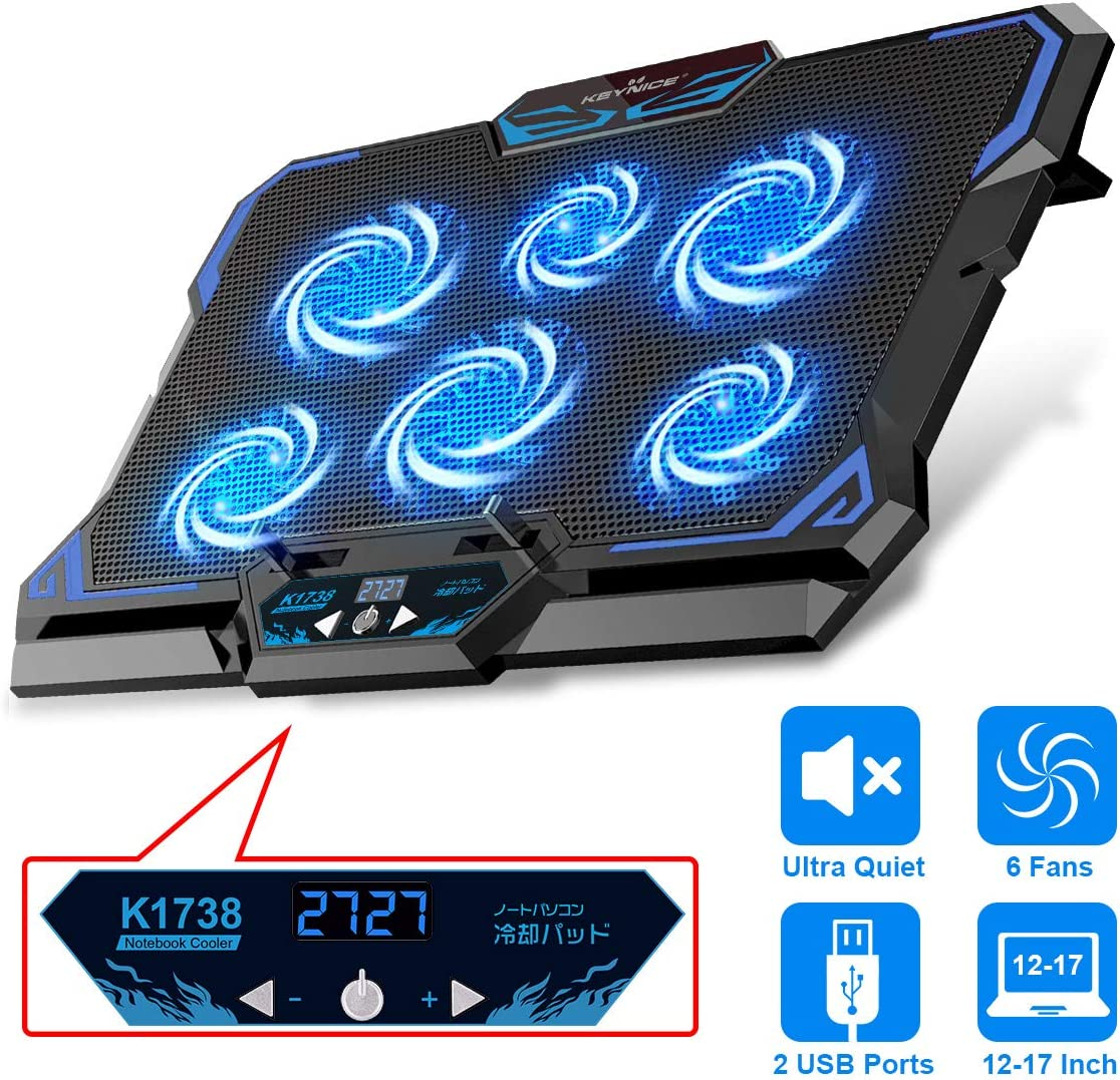 Laptop Cooling Pad, KEYNICE Gaming Laptop Cooler with 6 Quiet Blue Fans & 5 Adjustable Speeds, Heavy Notebook Cooler Pad with Dual USB Ports & LCD Screen, Fits 12-17 inches, for Gamers and Office