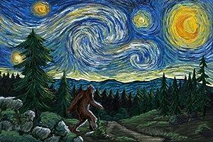 Northwest, Van Gogh Starry Night, Bigfoot 81018 (9x12 Art Print, Wall Decor Travel Poster)