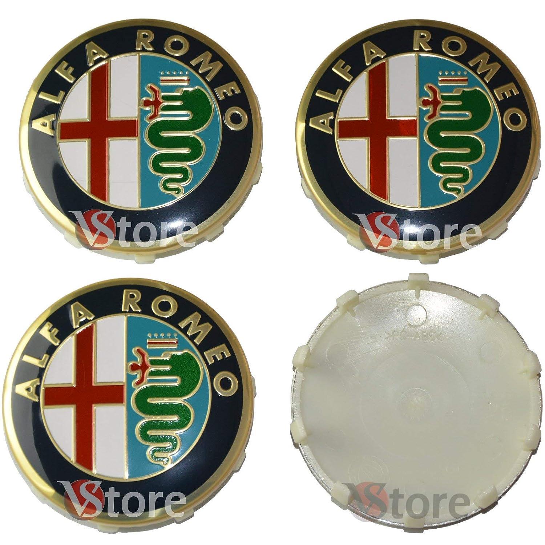 4 Tappi Coprimozzo 60mm Compatibili per Cerchi Originali ALFA ROMEO Giulietta 147 159 146 156 Brera Stemma Fregi Oro Gold