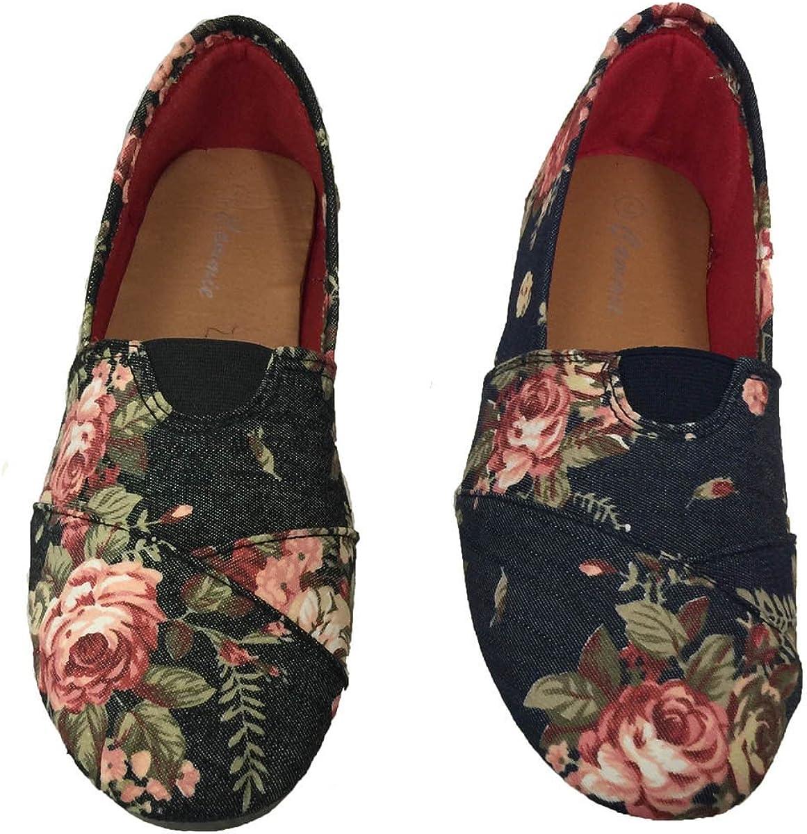 Ladies Floral Flower Print Canvas Espadrilles Flat Shoe