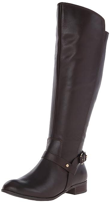 Anne Klein Women's Kahlan Wide Calf Leather Riding Boot, Brown, ...
