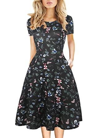 Women s Vintage Work Casual Round Neck Floral Pocket Tunic Cocktail Party A-Line  Dresses Knee d21ac2356