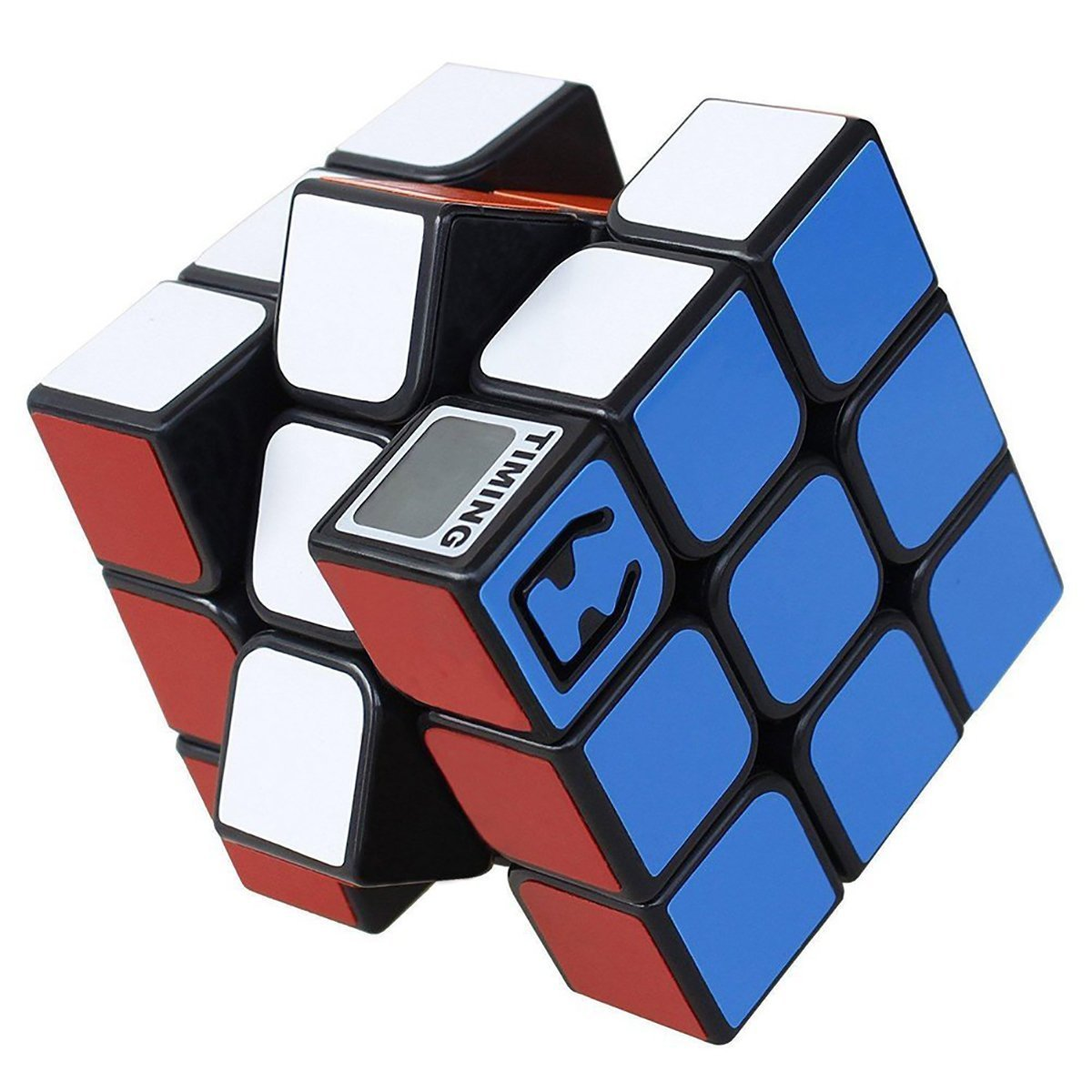 3x3x3 Magic Cube with Timer Smooth Speed Cube Black Body with Colour Stickers Puzzle Toy for Adults and Children