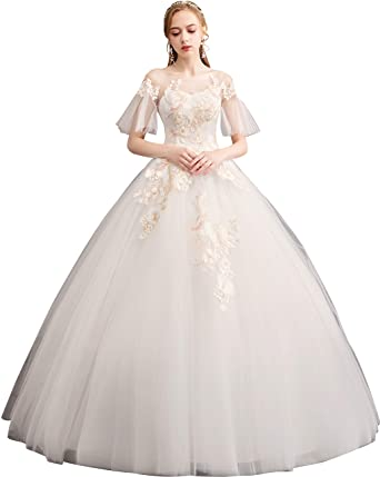 42990db41bc Clover Bridal 2019 Elegant Jewel Lace Bridal Ball Gown Wedding Dress Ivory  at Amazon Women s Clothing store