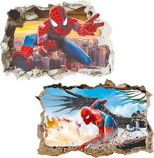 Kibi 3D-effekt Aufkleber Spiderman im Wanddurchbruch Loch Marvels Spider-Man Ultimate Wandtattoo Kinderzimmer Spiderman Wandsticker Spiderman Wandaufkleber Spiderman