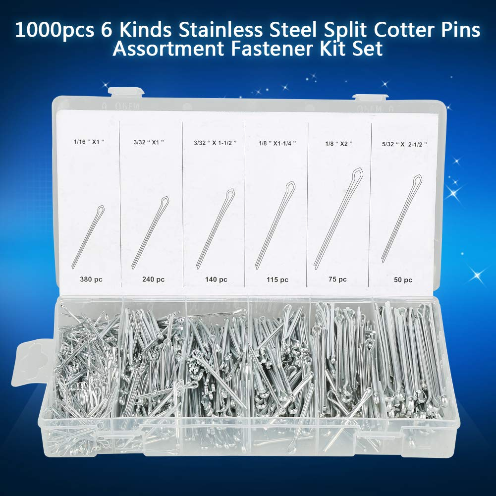 Cotter Pin Assortment 1000pcs 6 Kinds Stainless Steel Split Cotter Pins Assortment Fastener Kit Set for Mechanical Industrial Fasteners