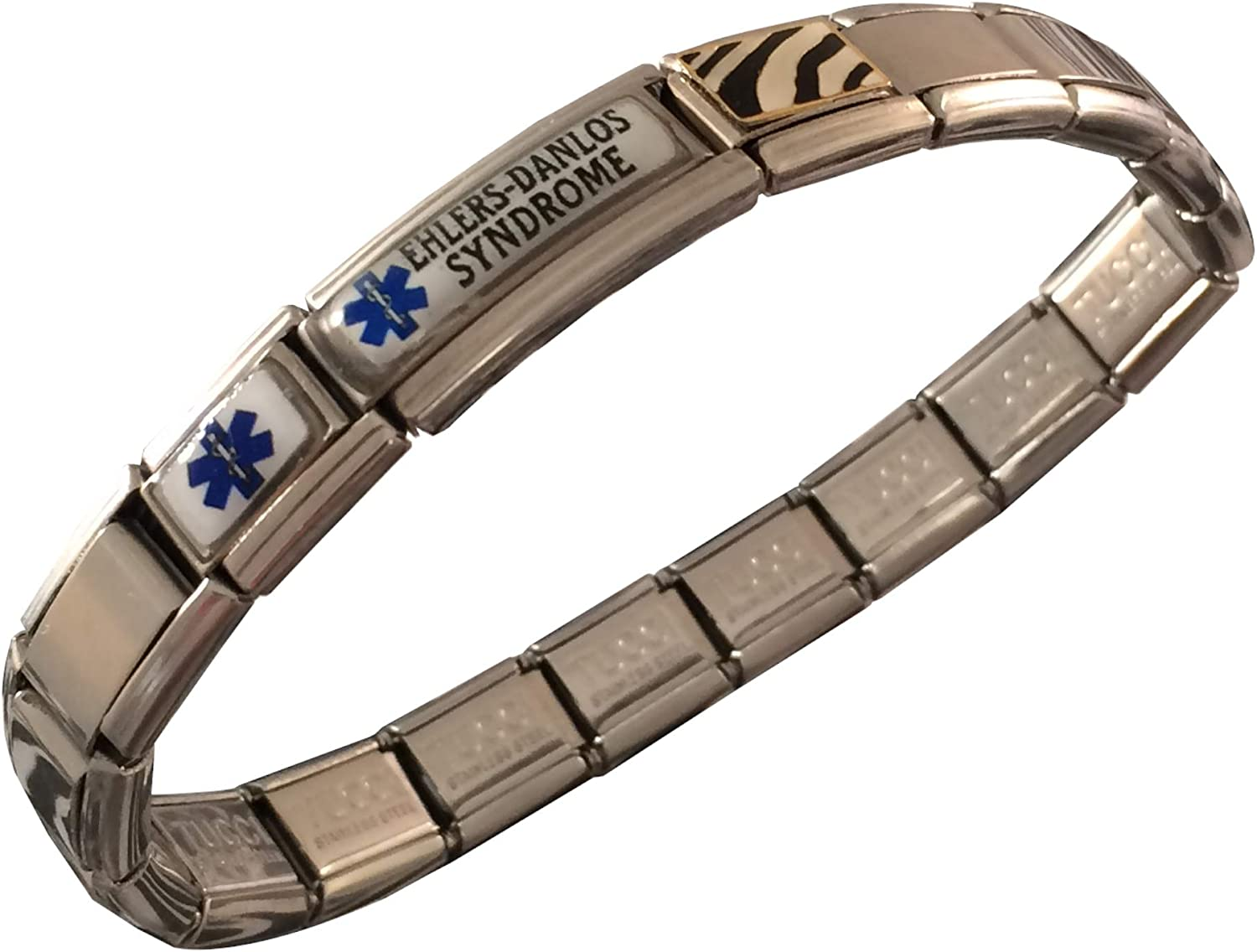 Ladies stainless steel expandable bangle with engraved ID charm EDS Lure by Butler /& Grace Ehlers Danlos Syndrome Medical Alert Bracelet