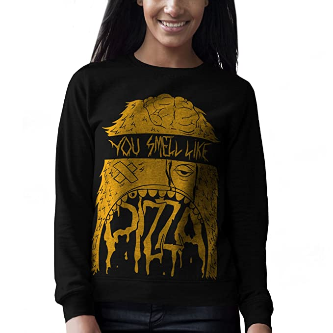 Wellcoda | Zombie Pizza Monster-Mujeres de color de dibujo de Muertos ilustradas impresión en el ámbito de diseño Monster-Halloween escalofriante sudadera ...