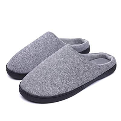 iParaAiluRy House Slippers for Men Fleece Lined Indoor Warm Slippers with Anti-Skid Rubber Sole: Clothing