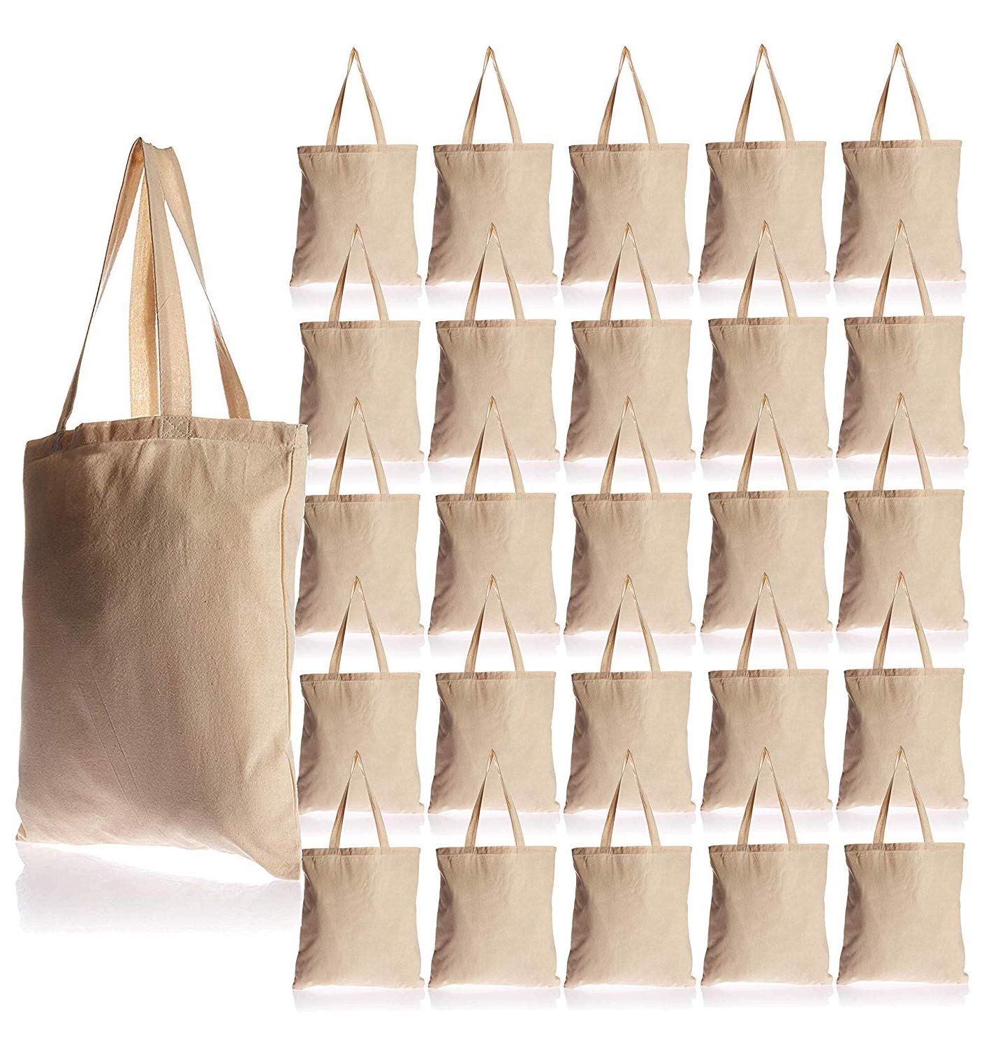25 Pack Bulk Cotton Canvas Tote Bags Reusable Grocery Shopping Blank Tote Bags in Bulk Blank Art Craft Supply Book Print Bulk Lot School Church Party Blank goods Bags Wholesale Tote Bags (Natural) by BagzDepot