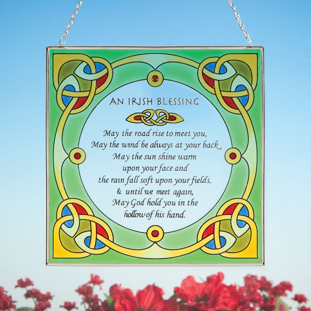 Bits and Pieces - Irish Blessing Suncatcher - Hanging Home Décor - Beautifully Painted Glass Creates Stunning Window Display
