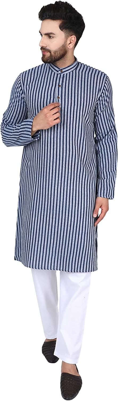 SKAVIJ Men's Tunic Cotton Long Kurta Casual Summer Shirt Regular Fit